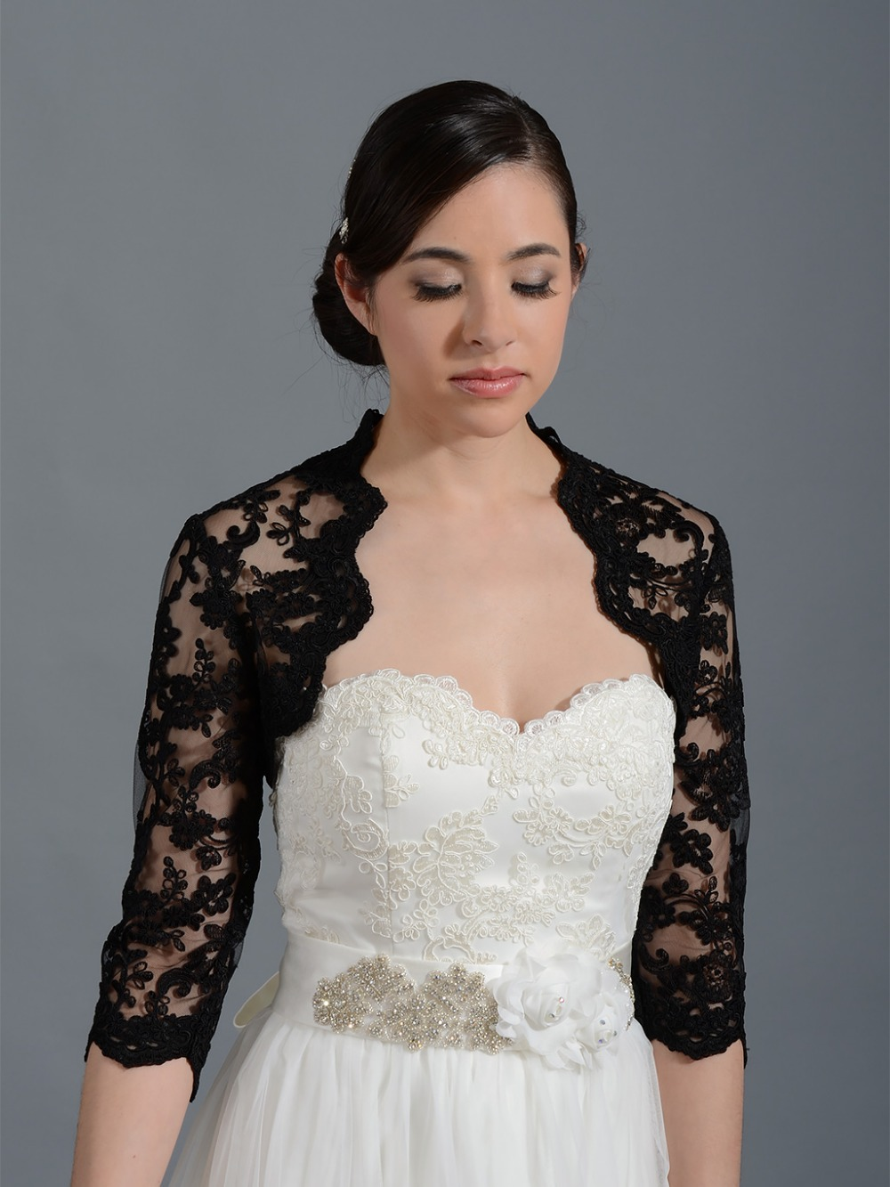 Buy custom made 2017 black wedding bridal for Black lace jacket for wedding dress