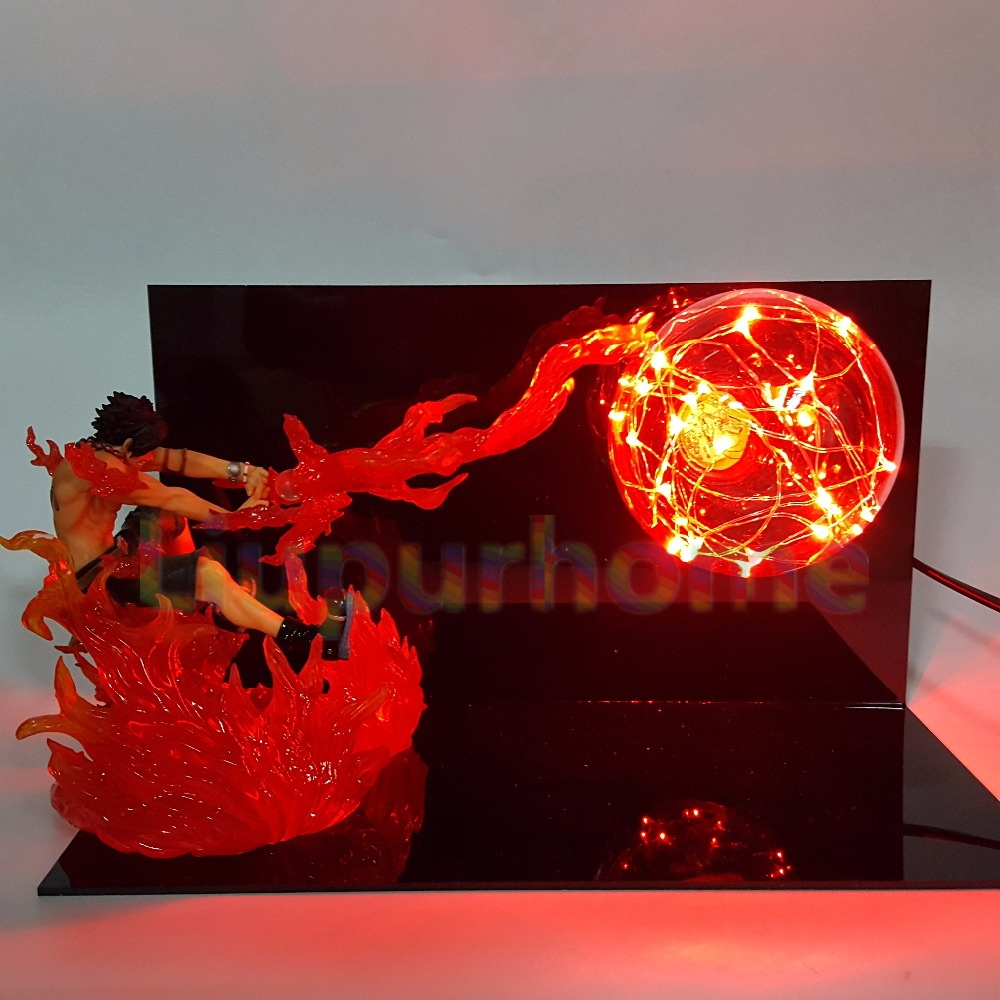 One Piece ACE Fire Ball DIY Led Night Lights One Piece Anime Luffy Sabo Led Table Lamp Christmas Decor Action Figure anime one piece devil fruit ace flame flame fruit