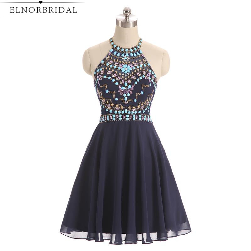 Navy   Cocktail     Dresses   2019 Sexy Short Prom   Dress   Beading Crystal Mini Special Occasion Homecoming Gowns