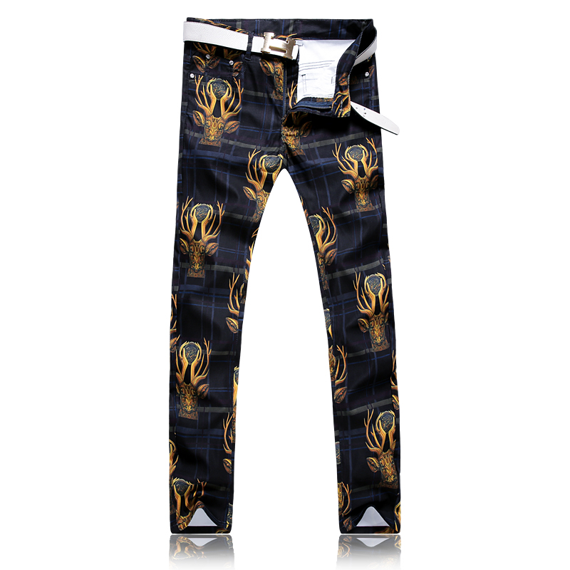 Spain 3D Deer Printed Jeans Men Fashion Denim Mens Jeans High Quality  New Elastic Cotton Plaid Print Jeans Casual Men Clothing