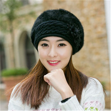 2017 New explosion models knit hat autumn and  two-piece men's hats winter hat Woman with flowers winter hat balaclava cap