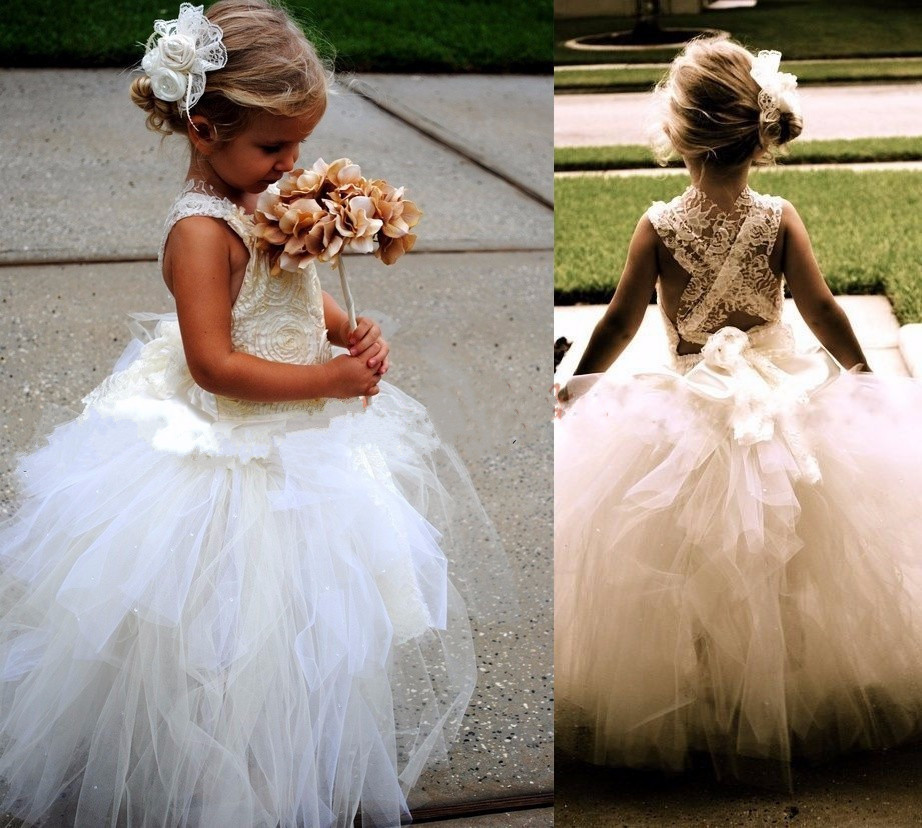 New Ball Gown Flower Girls Dresses for Wedding Sleeveless Birthday Baby Girls Princess Communion Dress Any Size