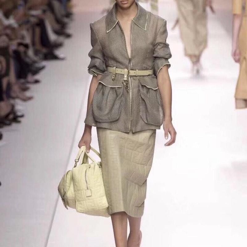 Excosmique piste femmes veste à manches longues décontracté Mesh haute qualité Designer évider veste avec ceinture grande poche manteau court