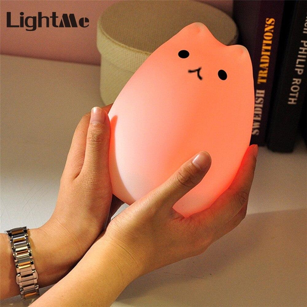 Lightme Nuit Lumière Silicone Chat Forme De Chevet Lampe Changement de Couleur Rechargeable Lampe 2 Modes Pour Enfants Cadeaux Chambre Décor À La Maison