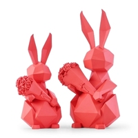 modern minimalist geometric rabbit hold flower ornaments home decorations animal figurine creative marriage wedding gifts