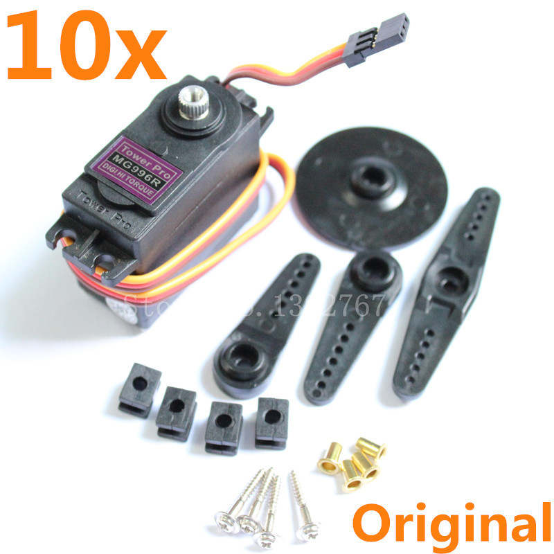 10pcs / lot Tower Pro MG996R MG996 Servo Digital High Torque Metal Gear Bearing 55g for JR RC Robot RC Car RC ვერტმფრენი RC Plane
