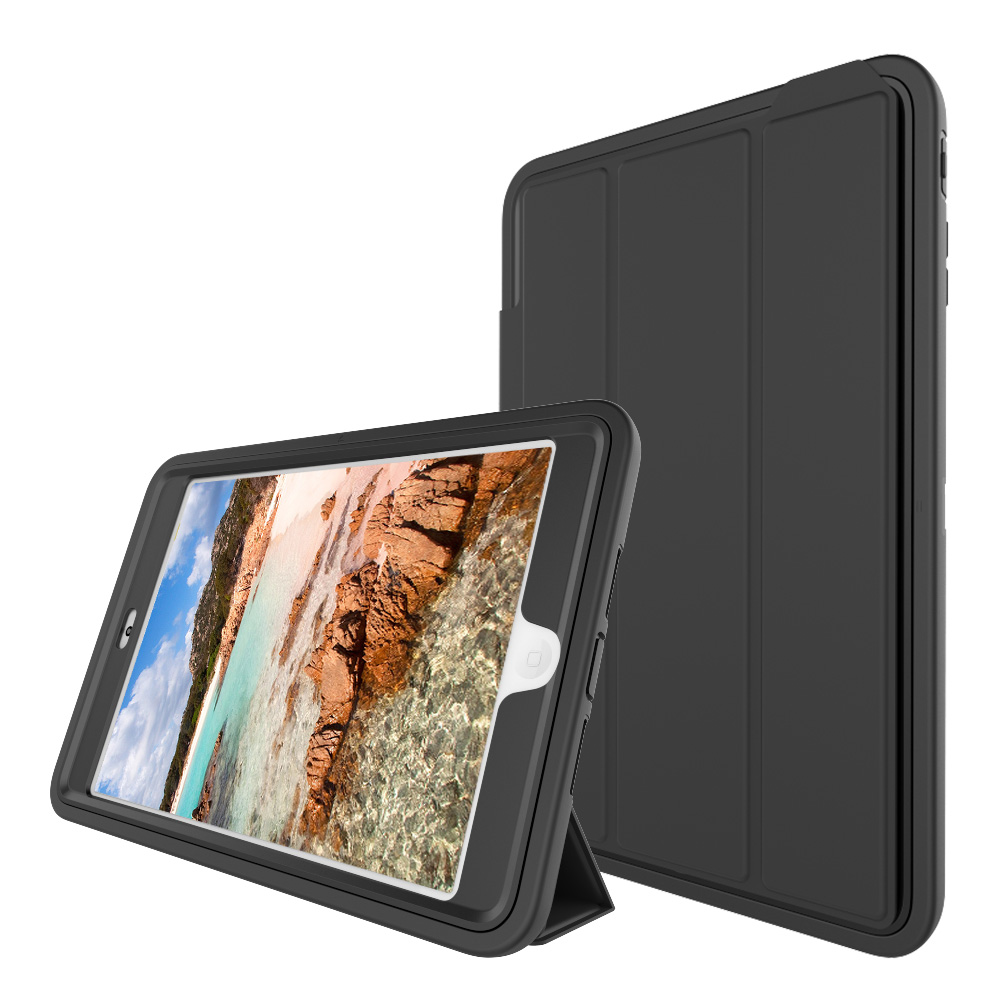 For iPad mini 1 2 3 3-Layer Smart Cover Case Hybrid Armor Full Protection Heavy Duty PC+TPU+PU Folding Stand Hard Tablet Case