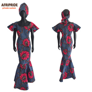 Image 2 - African Ankara Church Bandana Dresses for Women Tailor Made Short Sleeves Ankle Length Women Cotton Dress with Head wrap A722552