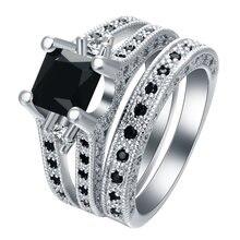 Мужское великолепное кольцо с черным кристаллом набор обручальных