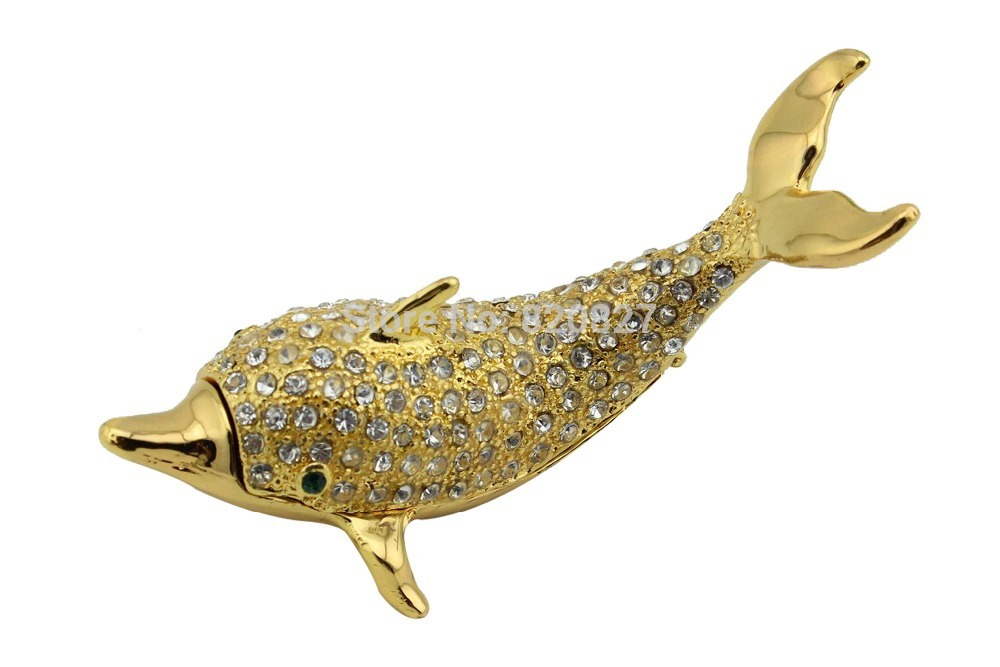 Cheap Price Gold Dolphin Jeweled Trinket Box, Golden Jewelry Dolphin Box Crystals decoration