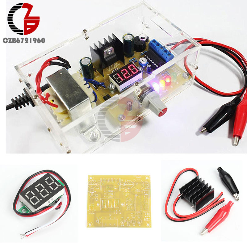 LM317 Adjustable Voltage 110V to 1.25V-12V Step-down Power Supply Board Learning DIY Kit with Case PCB Electronic Module kits