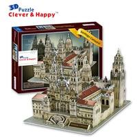 Candice guo! 3D puzzle clever & happy paper model assemble toy Catedral de Santiago de Compostela Spain birthday gift 1pc