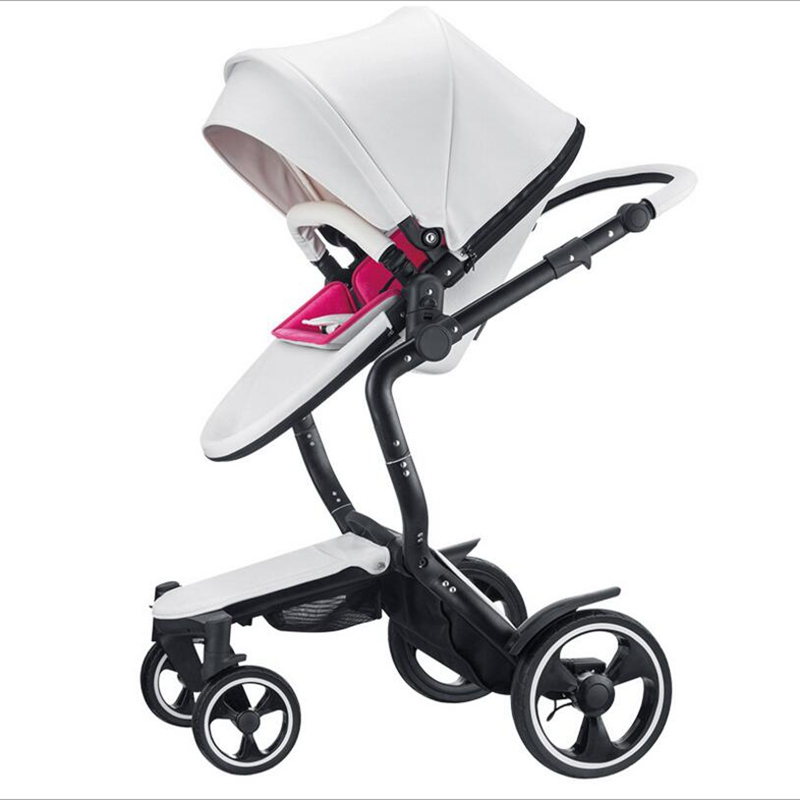 Four-wheeled baby stroller two-way reclining BB high landscape stroller sleeping basket 2-in-1 stroller