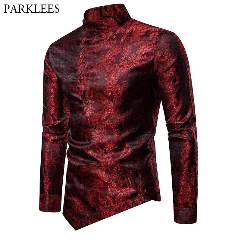 Wine Red Paisley Jacquard Tuxedo Shirt Men Stylish Irregular Hem Design Slim Fit Dress Shirts Mens Wedding Party Chemise Homme