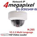 Atacado New H.265 IP Câmera 4MP DS-2CD2145F-IS V5.3.3 Firmware Multi-língua Mini Câmera Dome POE onvif Câmera IP de Áudio