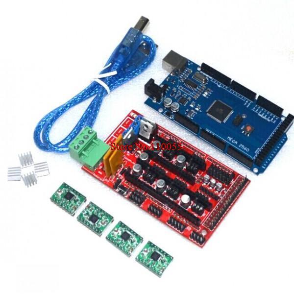 Мега 2560 R3 + 1 шт. ПЛАТФОРМЫ 1,4 контроллер + 4 шт. A4988 шагового модуля драйвер для 3D-принтеры комплект Reprap MendelPrusa