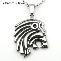 Lions Head Wolf Anime Animal Casting Silver 316L Stainless Steel Pendants Necklaces 2014 New Punk Wholesale
