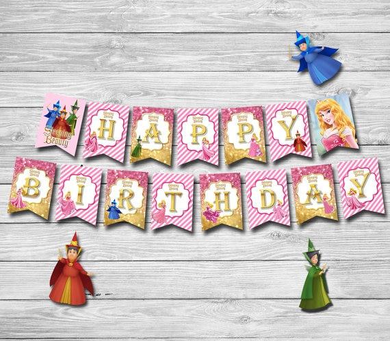 Princess Aurora Banner Baby Shower Birthday Party Decorations Kids