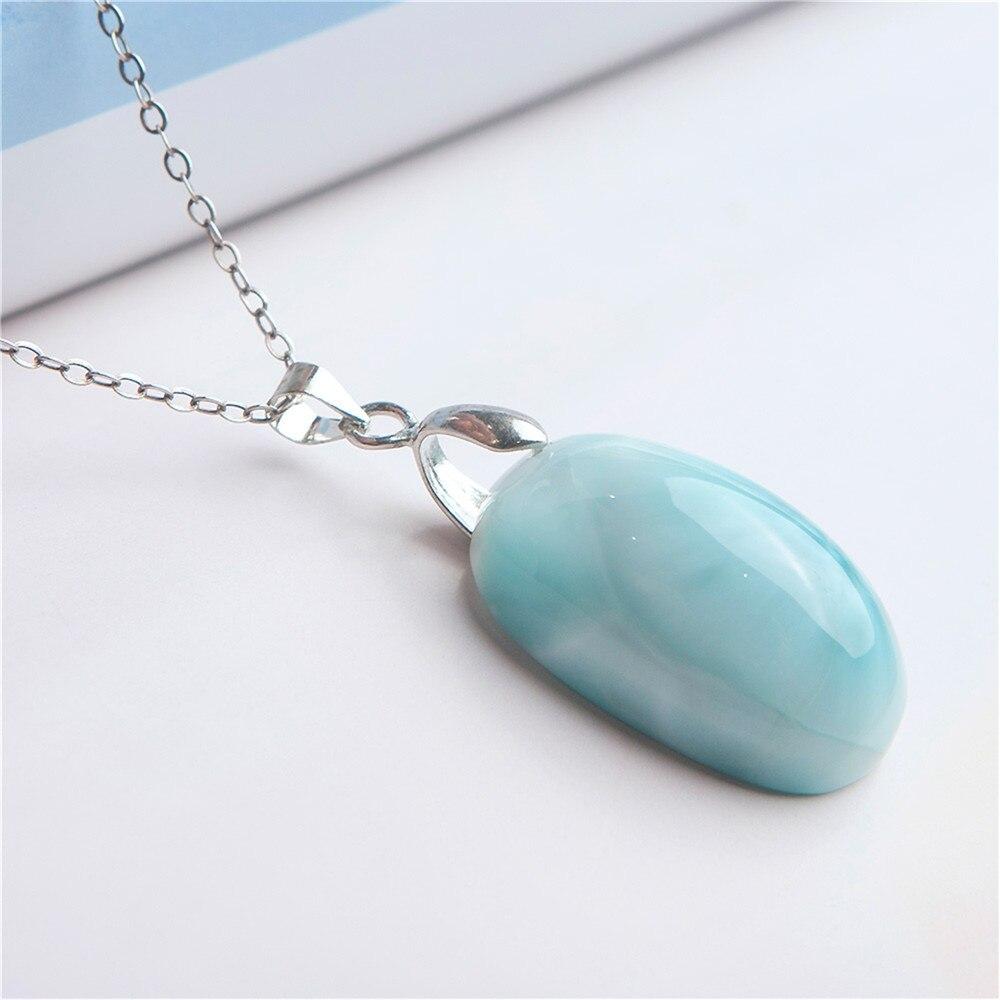 Jewelry Pendant Natural Blue Larimar Fashion Bead Crystal Gem