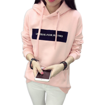 цены Women Long Sleeves Hoody For Women Thicken Hooded Sweatshirt Female Hoodie Pink & Gray Plus Size Sweatshirt Hoodies