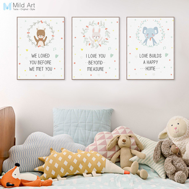 Kawaii Animal Love Quotes Cute Bear Deer Poster Print A4 Wall Art Picture Modern Nordic Kids Room Decor No Frame Canvas Painting