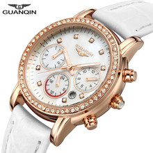 GUANQIN GQ15001lady Chronograph 2017 fashion casual watch women Sapphire Glass waterproof Quartz female watches White Leather
