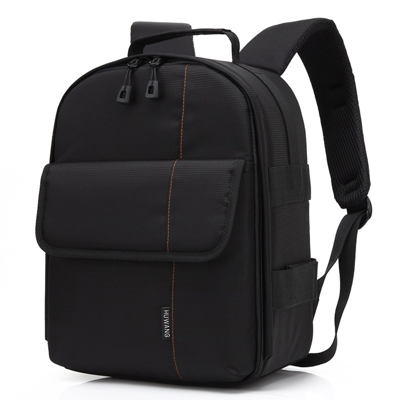 HUWANG Portable Waterproof Scratch-proof Polyester Surface Material Dual Shoulders Backpack Outdoor Sports SLR Camera Soft Bag