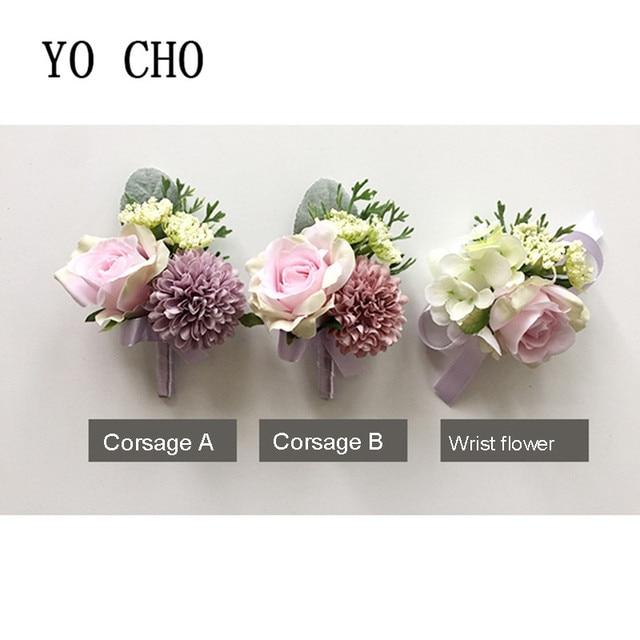 Yo Cho Bridesmaid Berries Pink Rose Groom Boutonnier Ribbon Succulent Bracelet Wedding Prom Wrist Corsage Bridal