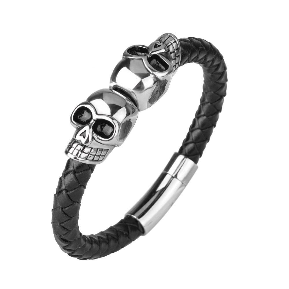 Kirykle mode tressé Bracelets en cuir crâne Bracelet Punk Bracelet en acier inoxydable boucle magnétique Bracelets de mode 2