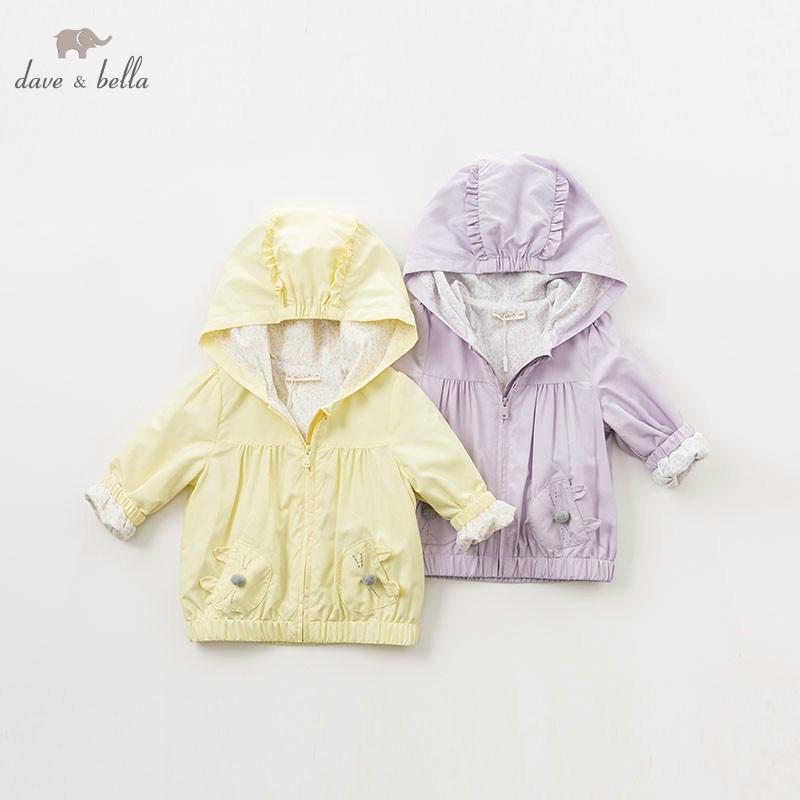 DBM9910 dave bella spring baby girl lovely jacket children fashion outerwear kids solid coat