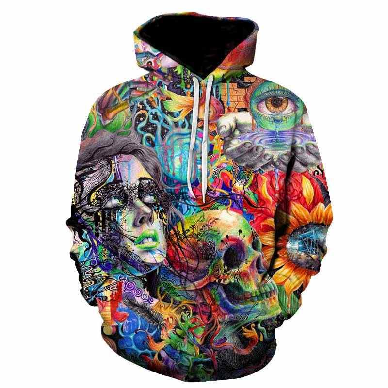 Farba czaszka 3D bluzy z nadrukiem bluzy damskie i męskie bluza z kapturem marki 5xl Qlity dresy chłopiec znosić płaszcze moda nowy