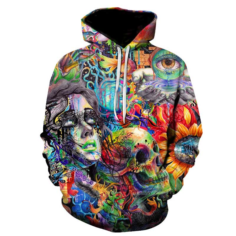 Paint Skull 3D Printed Hoodies Men Women Sweatshirts Hooded Pullover Brand 5xl Qlity Tracksuits Boy Coats Fashion Outwear New