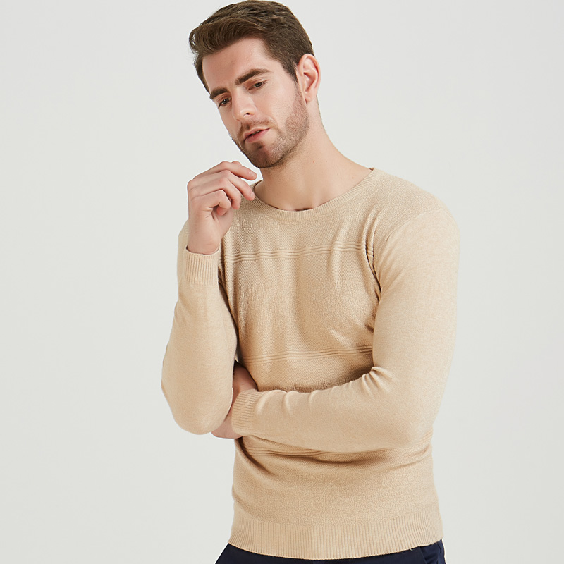 2019 Casual Slim Fit Pullover Men Sweater Beige Solid Striped Thin O-neck Sweaters Mens Autumn Winter Underwear Pull Knit Jersey