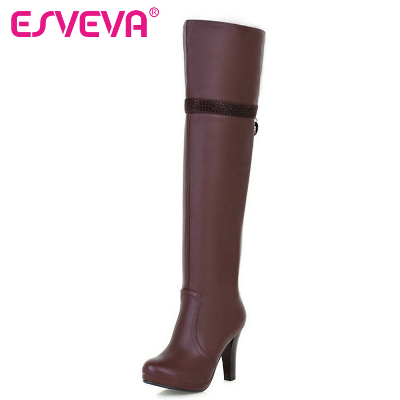 ФОТО ESVEVA Winter PU Shoes Women Thin High Heel Over The Knee Boots Round Toe Sexy Women Shoes Brown Ladies Riding Boots Size 34-39