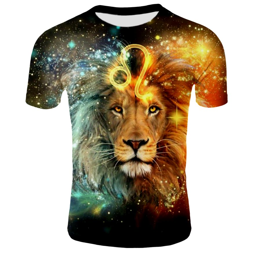 Very Popular In The 2019 New Animal Flame Effects The Lion 3 D Printing Effects Of Men And Women T-shirt Design S - 4 Xl Yards