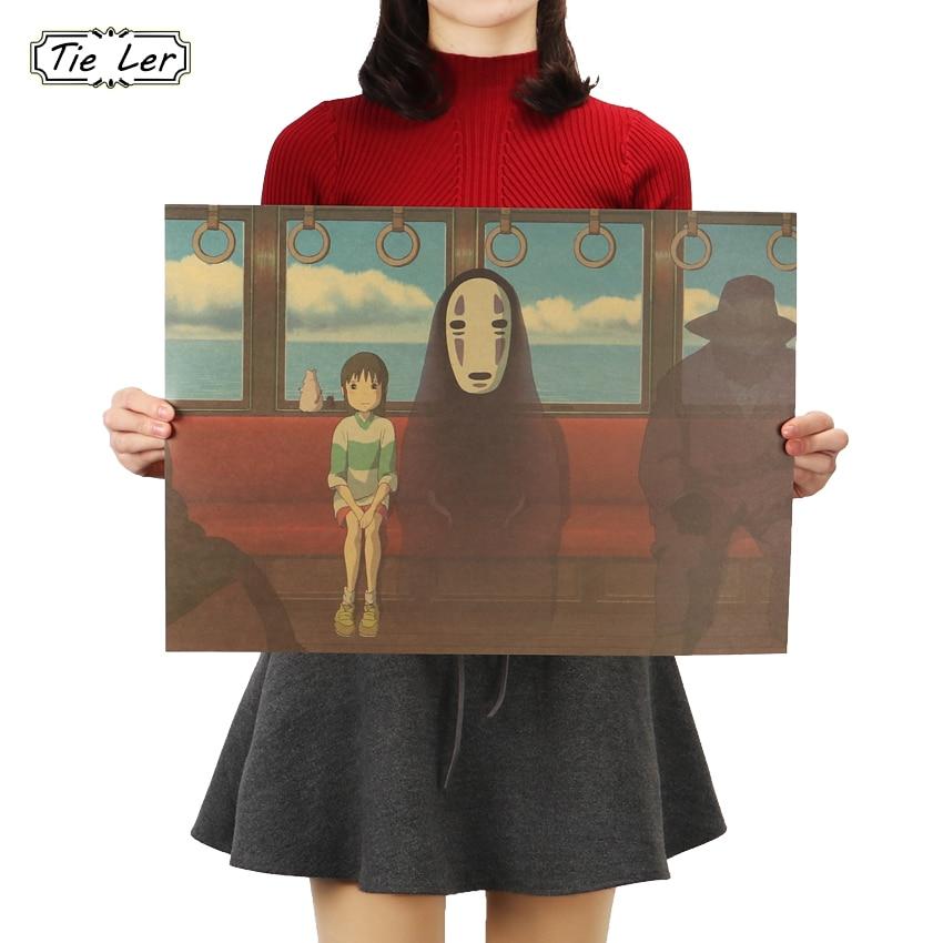 TIE LER Classic Cartoon Film Kraft Paper Bar Poster Retro Wall Sticker Decorative Painting 51.5X36cm