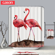 GASON Bathroom Curtain Quality Natural Waterproof Polyester 2 M Cloth 3D Farm African Flamingo Simple