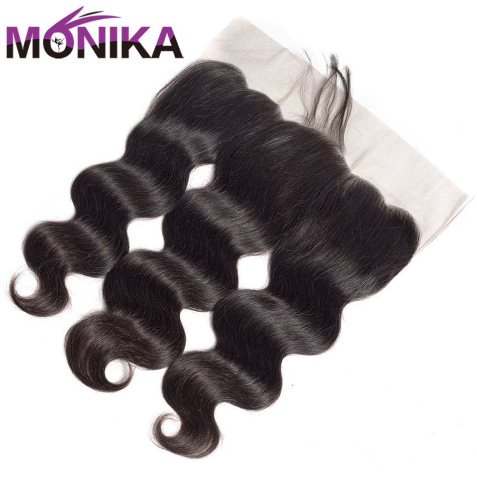 Monika Hair 13x4 Pre Plucked Full Lace Frontal Closure With Baby Hair Brazilian Body Wave Ear to Ear Lace Closure Non Remy Hair
