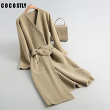 winter coats women long wool cashmere coat belt lace up v-collar knitted cashmere trench coats warm outerwear autumn casual