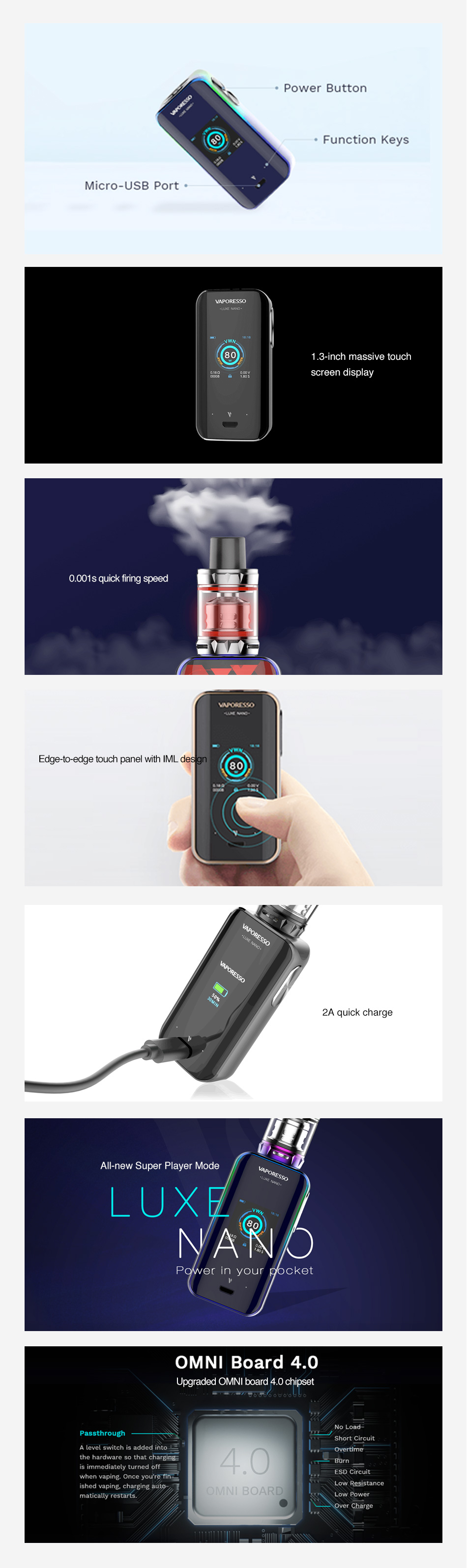 , Vaporesso Luxe Nano 80W Touch Screen