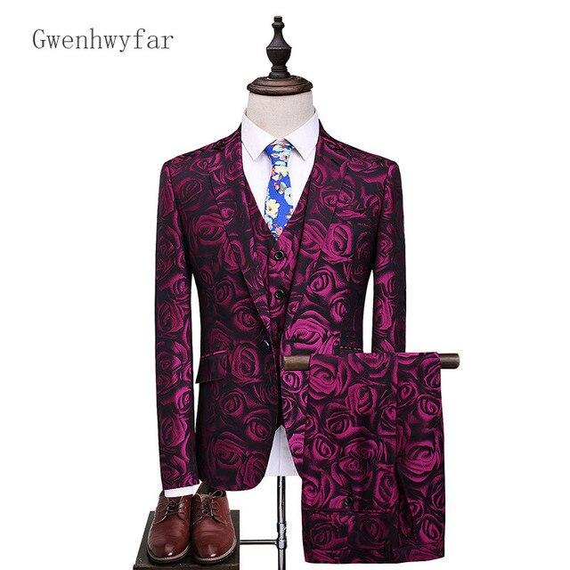 10e2113054c0 Gwenhwyfar 2018 Latest Coat Pant Designs Groom Tuxedo Red Floral Print Men  Prom Suits Wedding Best Man Blazer Jacket Pants Vest