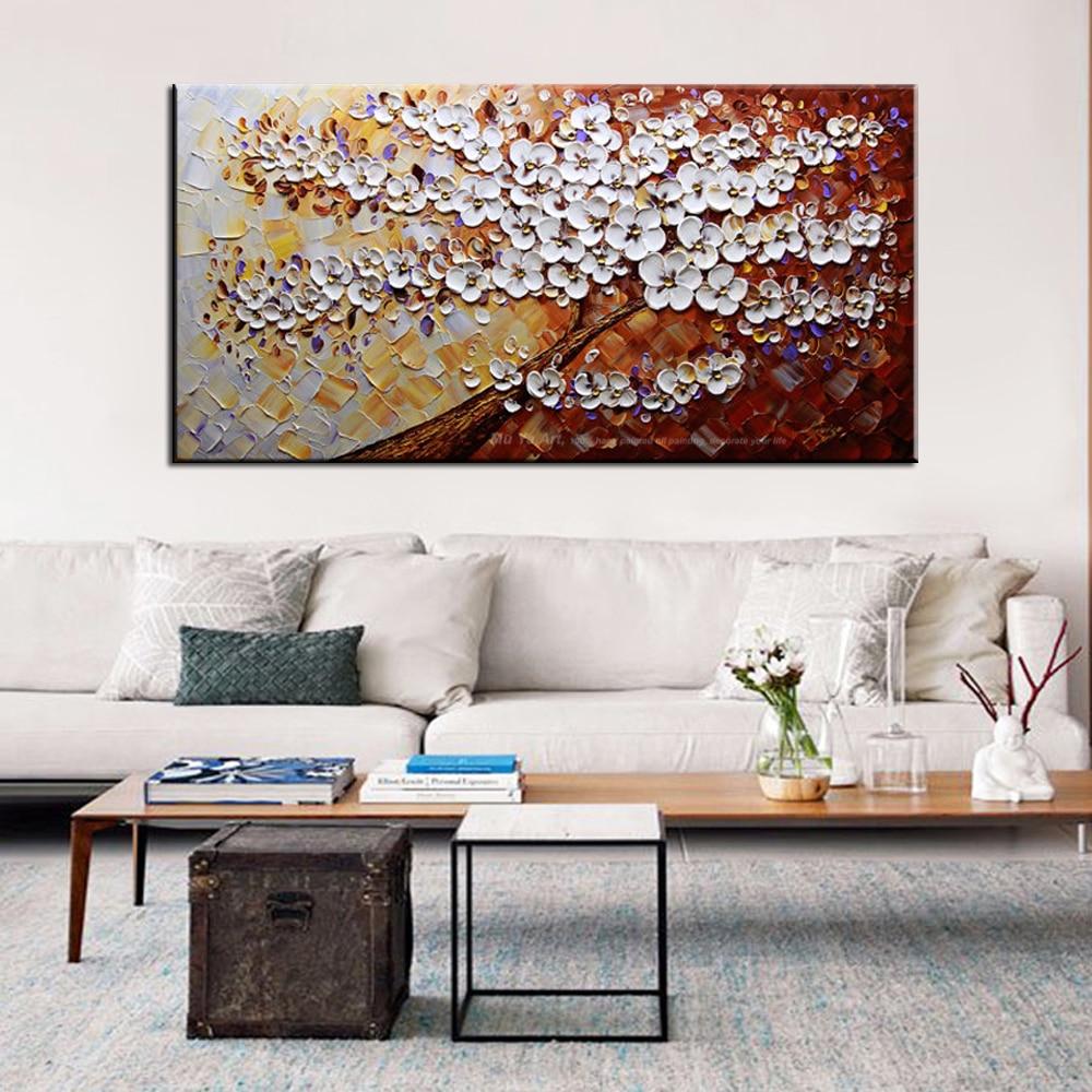 US $57.96 16% OFF|MUYA große wandbilder für wohnzimmer moderne handgemalte  segeltuch ölgemälde leinwand abstrakte kunst baum malerei-in Malerei und ...