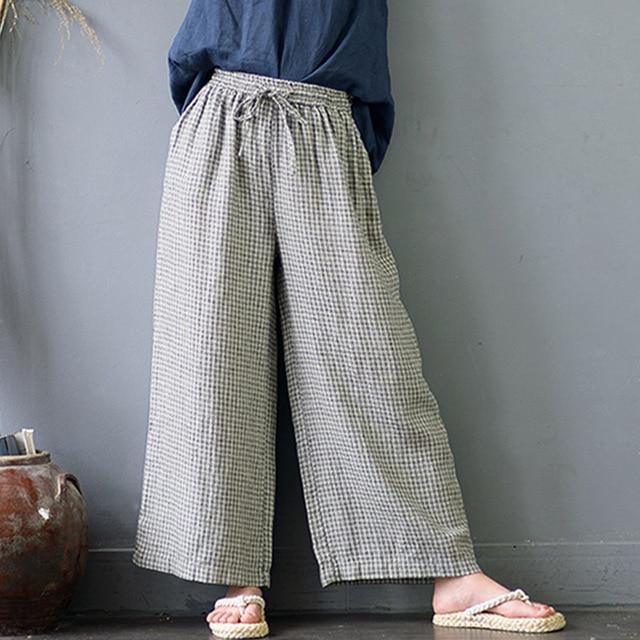 Women Pants 2019 100% Linen Vintage Plaid Straight Wide Leg Pants Casual Elastic Waist Loose Long Trousers for Women S600