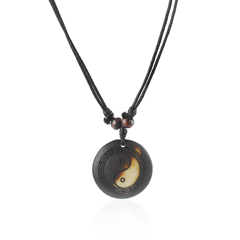 Yak Bone Yin Yang Resin Ba Gua Necklace 1