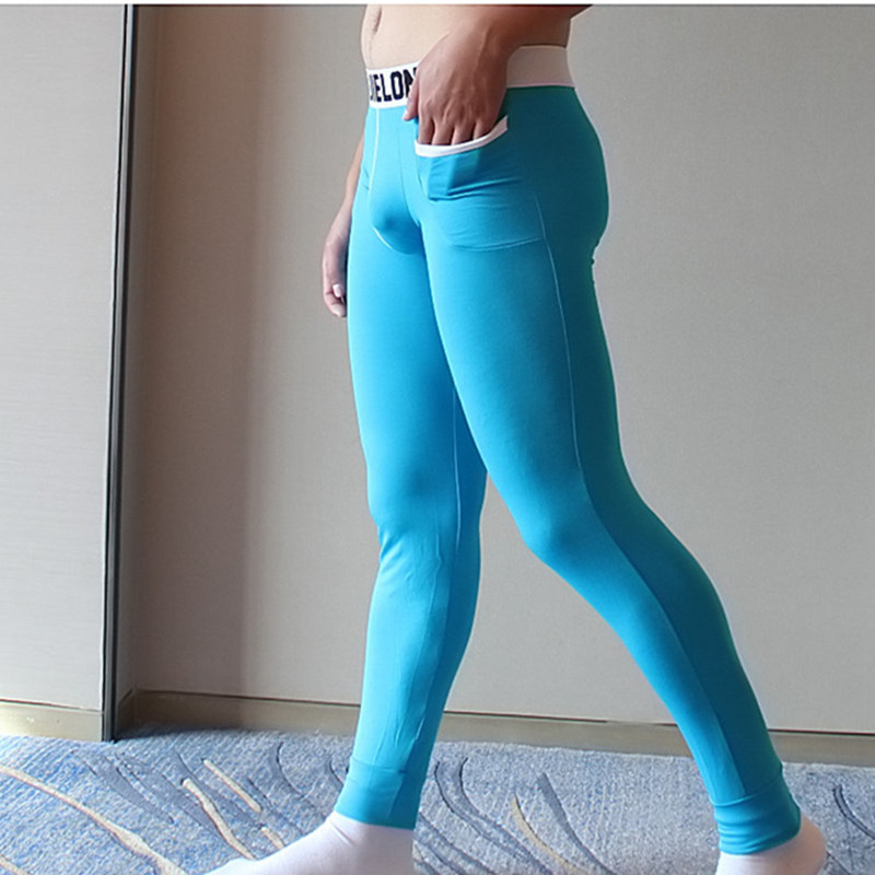 men long johns mens warm pants thin elastic line of men's fashion brand Modal sexy underwear tight legging long Johns
