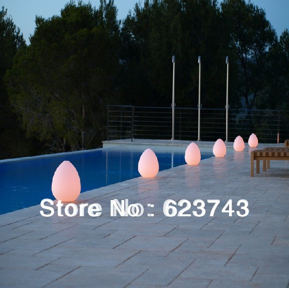 ФОТО Free Shipping Colorful LED Egg Break-resistant, rechargeable LED glowing lighted Stone LED,LED ROCK Swimming Pool Lamp cordless