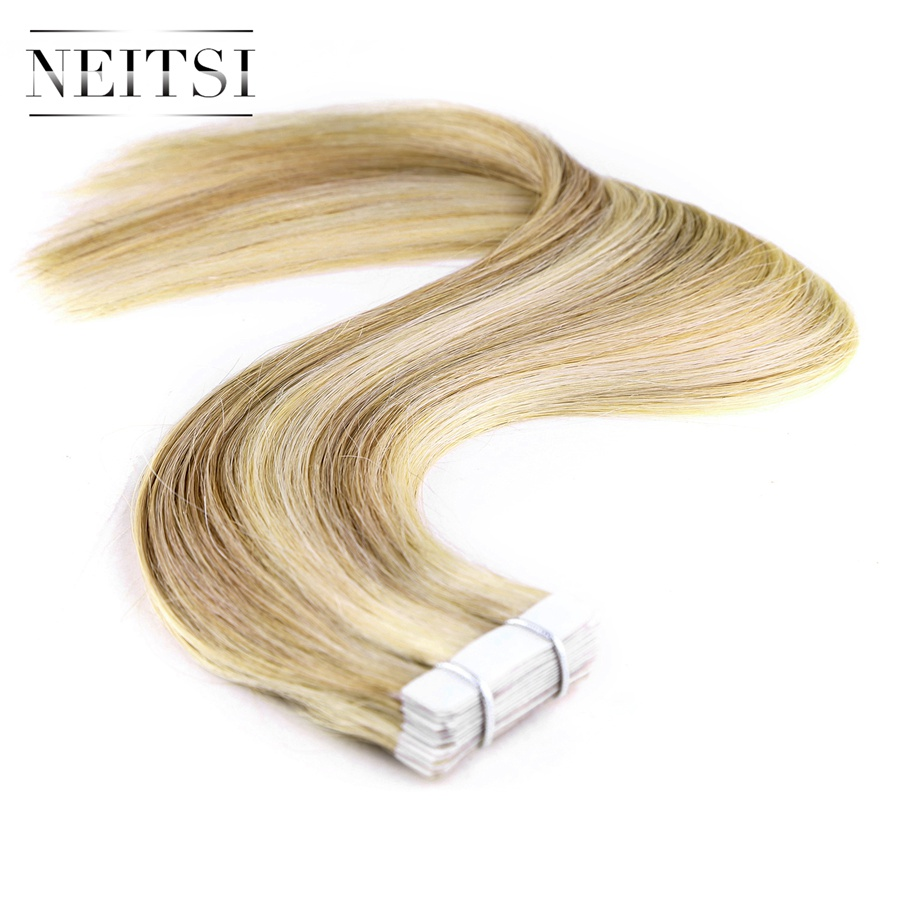 Neitsi Straight Skin Weft Adhesive Hair Geen Remy Tape In Human Hair - Mensenhaar (voor wit) - Foto 2