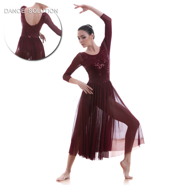 3dbea4341 Wine Red Mid Sleeve Lace Dress for Adult Girls Ballet