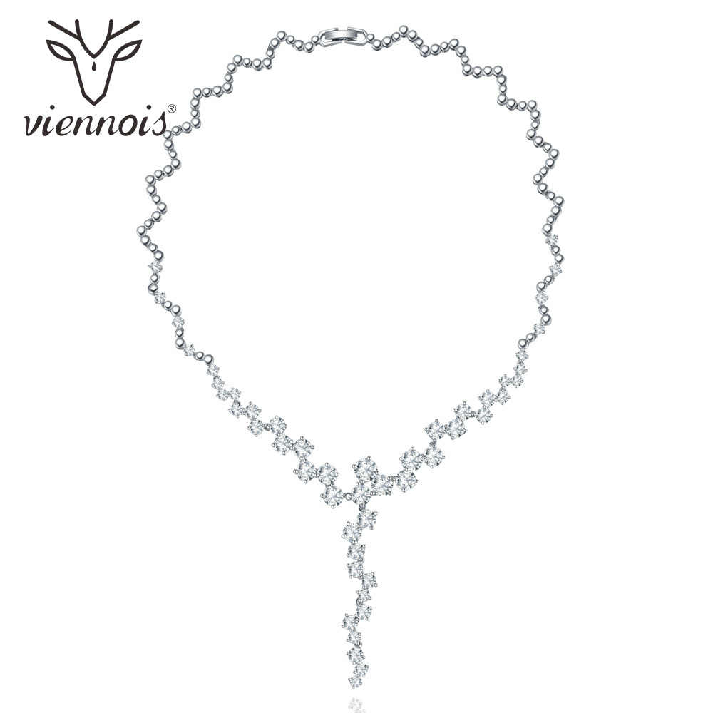 Viennois Silver Color Luxury Wide Women Necklace Shiny Zircon Necklace Female Party Wedding Necklace Fashion Jewelry