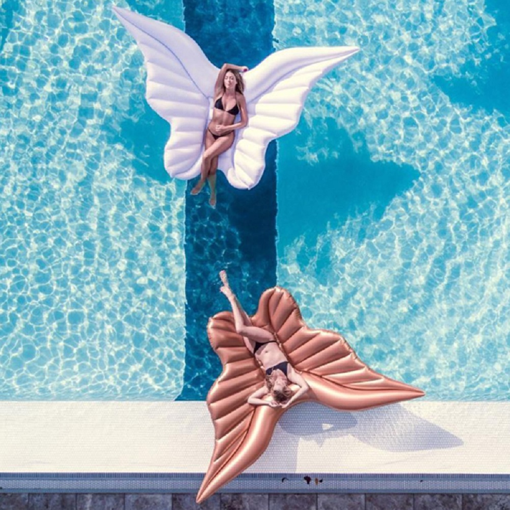 Giant Angel Wings Inflatable Pool Floating Air Mattress Lazy Water Party Toy Riding Butterfly Swimming Ring Piscina 250*180cm